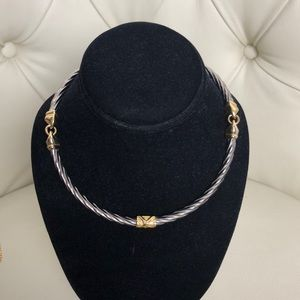 Jewelry - Silver Gold Accent Choker Necklace